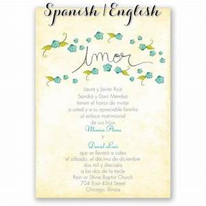 pequenas flores spanish wedding invitation i print your With addressing wedding invitations in spanish