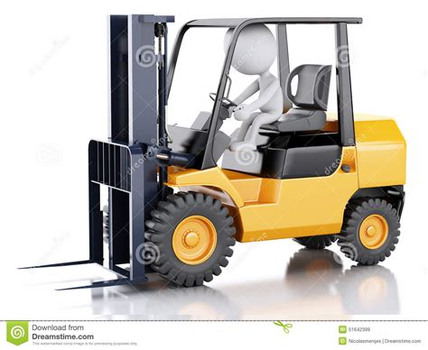 white people driving  forklift truck stock