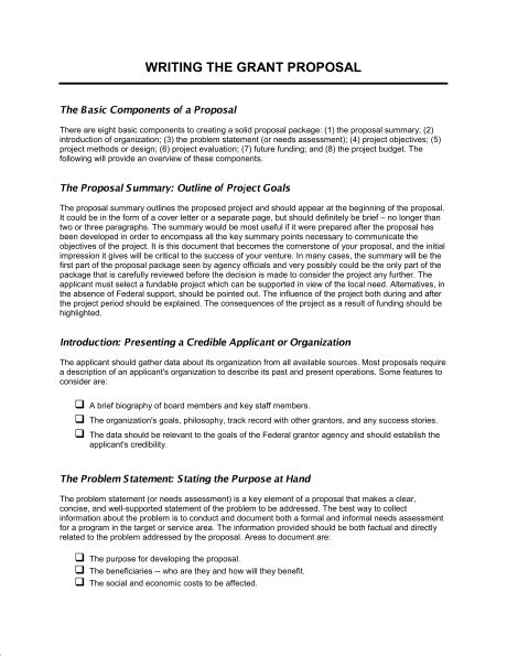 Grant Template Writing The Grant Template Word Pdf By