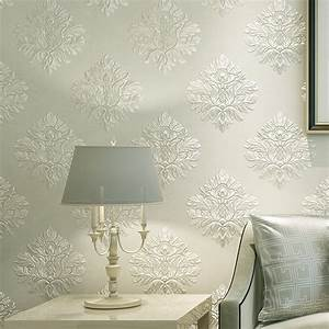European Style 3D Embossed Floral Damask Wallpaper Non ...