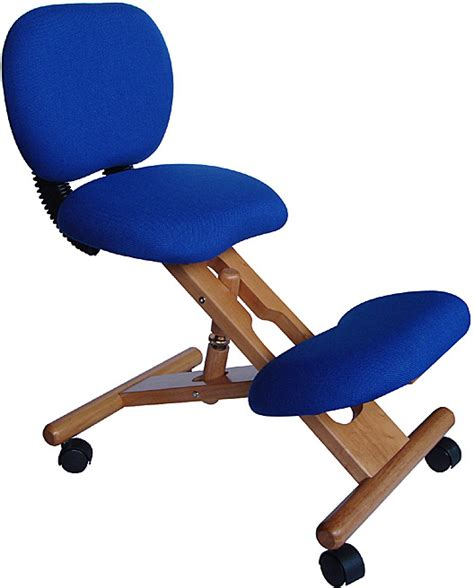 ergonomic kneeling desk chair wooden ergonomic kneeling posture office chair blue