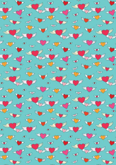 valentines day scrapbook paper flying hearts