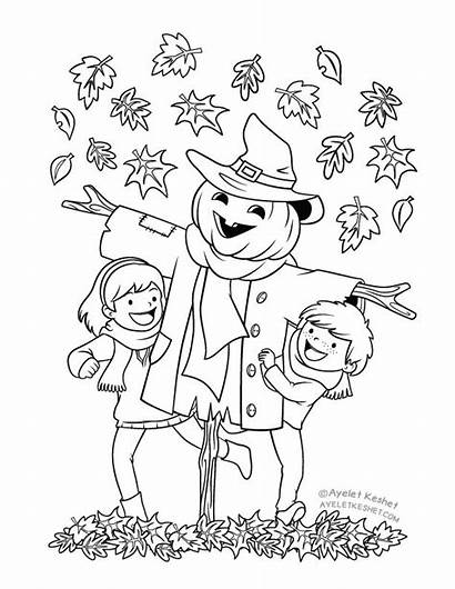 Coloring Autumn Pages Scarecrow Fall Colouring Ayeletkeshet