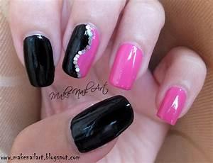 Black And Pink Nail Art Design nail art by Make Nail Art ...