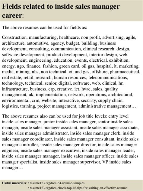 top 8 inside sales manager resume sles