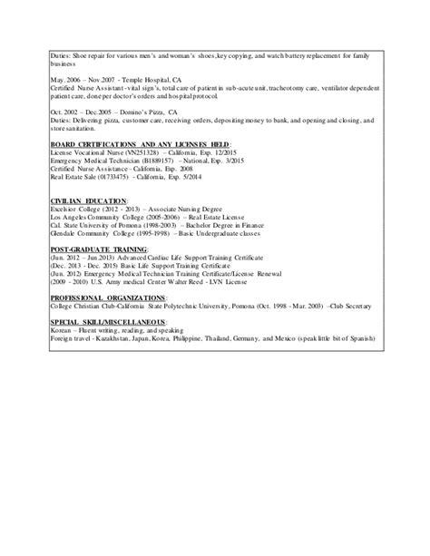 Lvn Resume Exles by Lvn Resume Revi 1