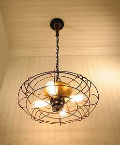 Light fixture repurposed from antique fan ikea decora