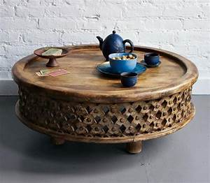 Furniture small square brown stained wooden coffee table for Carved wood round coffee table