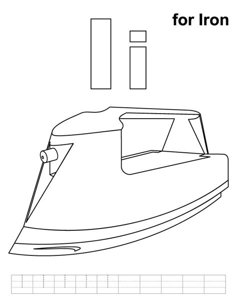 Iron Coloring Pages Printable by I For Iron Coloring Page With Handwriting Practice