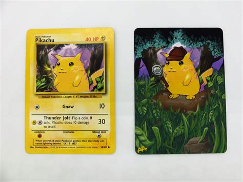 The chance of getting a gold star pokemon in a pack of cards was extremely low, only 1 in 72 packs had. OC Detective Pikachu card alter : pokemon