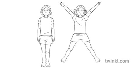 Jumping Jacks No Shoes Girl Child Fundamental Skills Easter Twinkl Move Lks2