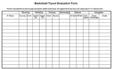 Baseball Tryout Rating Sheet
