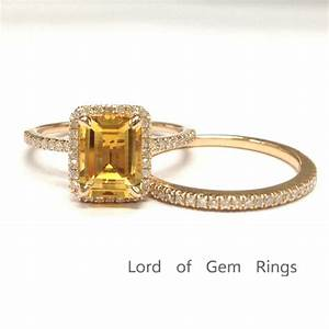 669 emerald cut citrine engagement ring sets pave diamond With citrine wedding ring set