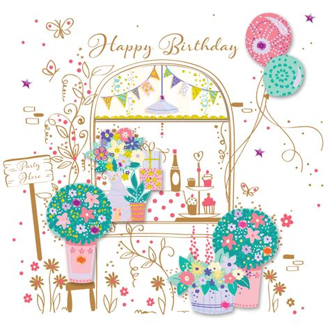 Party Here Pretty Happy Birthday Greeting Card Cards