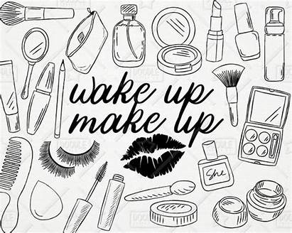 Makeup Clipart Doodle Pack Cosmetics Drawing Stickers