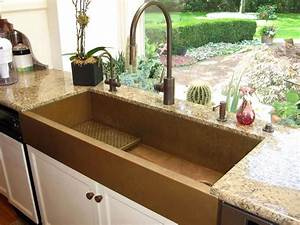 large copper apron front sink by rachiele eclectic With big farm sink