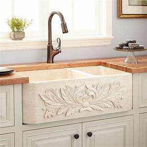 33, U0026quot, Ivy, 70, 30, Offset, Double-bowl, Polished, Marble, Farmhouse, Sink, -, Cream, Egyptian