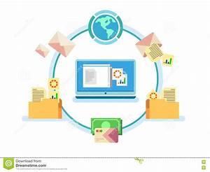 electronic document management stock vector illustration With electronic document archiving system