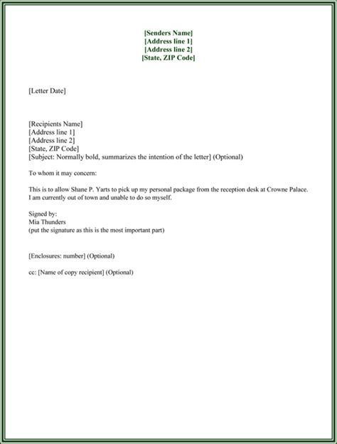 authorization letter samples  formats