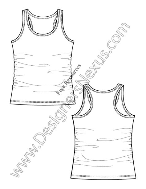 racerback tank knit fashion flat sketch templates