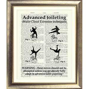 Rude Bathroom Signs by Toilet Sign Print On Original Antique Book Page