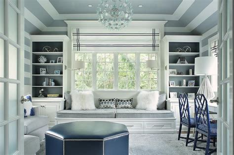 gray home office  gray tray ceiling transitional