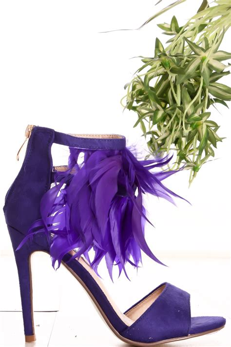 royal blue suede feather accent  zipper open toe high