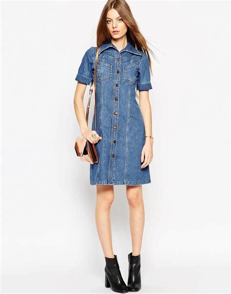 a line denim dress lyst asos denim a line midi dress in mid wash blue with