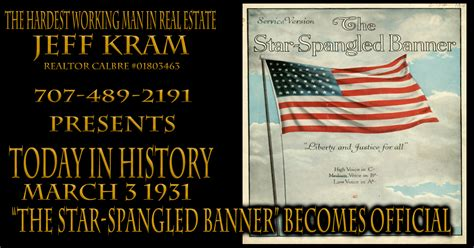 "History March 3 1931 ~ ""The Star-Spangled Banner"" official ..."