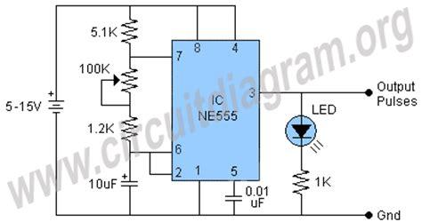 555 pulse generator circuit diagram