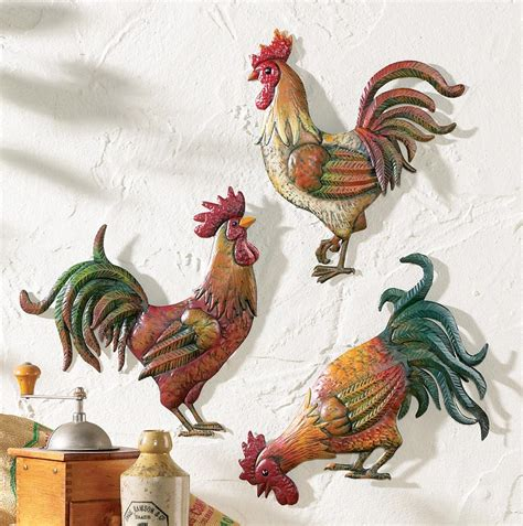 Wine Themed Kitchen Ideas - country kitchen rooster theme decor set of 3 metal rooster wall art decor ebay
