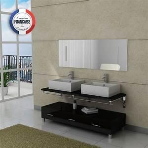 Meuble Salle De Bain Asymétrique : meuble salle de bain double vasque dis985 noir distribain ~ Nature-et-papiers.com Idées de Décoration