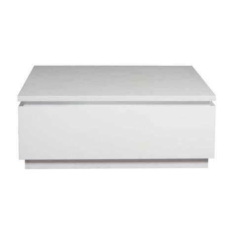 table basse carr 233 e blanc laqu 233 avec rangement et 233 clairage