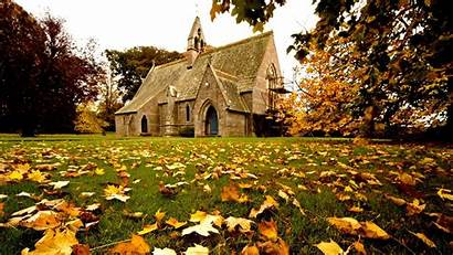 Church Fall Autumn Wallpapers Scenes Churches Scene