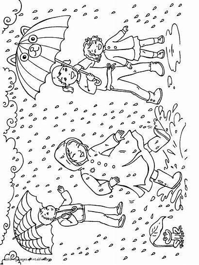Coloring Rain Pages Spring Printable Rainy Seasons