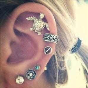Jewels: turtle, earrings, piercing, peace sign, ear cuff ...
