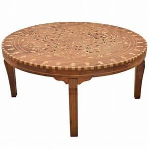 circular inlaid cedar indian coffee table at 1stdibs With inlaid wood coffee table