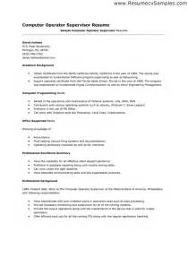computer operator resume format it resume cover letter