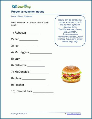 proper  common nouns worksheets  learning