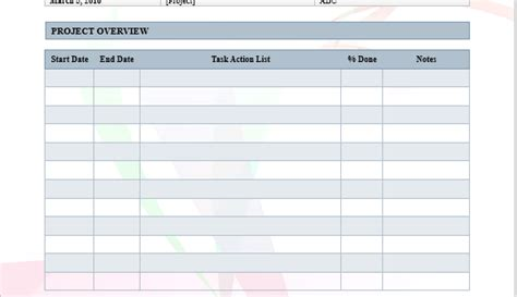 project log template word templates