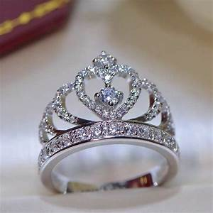 925 sterling silver princess crown zircon inlay engagement With crown wedding rings