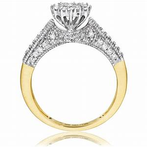 3 4 carat diamond bridal wedding ring set 10k yellow gold With yellow gold wedding ring set