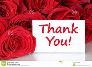 Thank You Card With Red Roses Flowers Stock Photo - Image ...