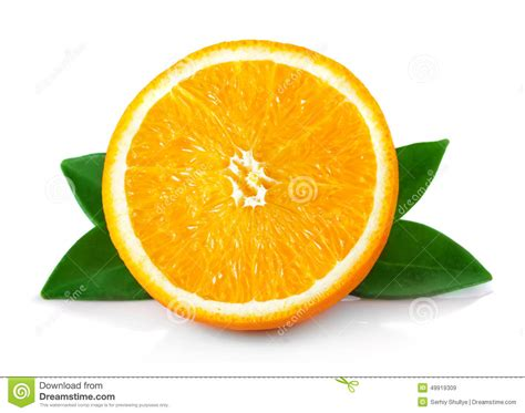 Half Section Ripe Orange Fruits With Leaves Isolated