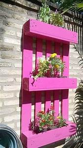 Pink Painted Wall Hanging  Pallet Planter