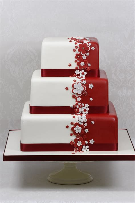 Red And White Flower Wedding Cake Another Display Cake For