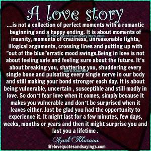 A love story is... Romantic New Beginning Quotes