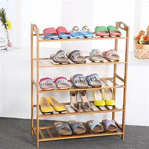 3, 4, 5, Layers, Natural, Bamboo, Shoe, Rack, Organizer, Stackable, Shoes, Storage, Household, Plant, Shelf