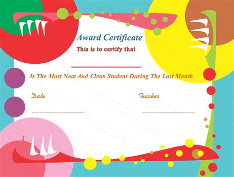 cleanliness award certificate template