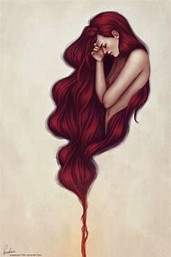 Drawing Girl with Red Hair